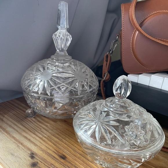 Vintage set of two crystal jar jewelry holder